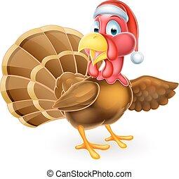 Cartoon Christmas Santa Hat Turkey Bird Pointing