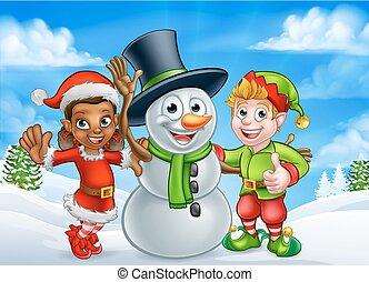 Cartoon Christmas Snowman and Elf Santas Helpers