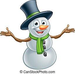 Cartoon Christmas Snowman - A happy Christmas snowman...