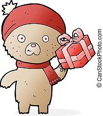 cartoon christmas teddy bear with present