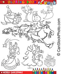 Cartoon Christmas Themes for Coloring - Coloring Book or...