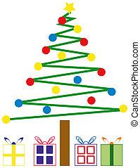 Christmas Tree and Presents - Cartoon Christmas Tree and...