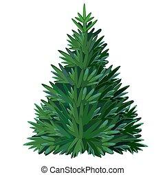 Cartoon Christmas tree isolated on white background. Vector illustration.