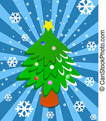 Cartoon Christmas tree on blue background