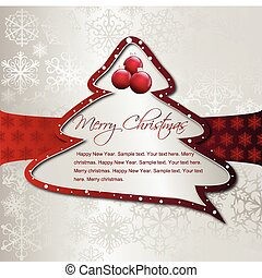 Cartoon Christmas Tree on silver card. Vector