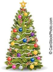 Cartoon Christmas tree with colorfu - Vector illustration of...