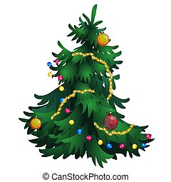 Cartoon Christmas tree with decorations isolated on white background. Vector cartoon.