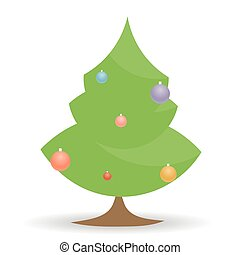 cartoon Christmas tree with toys on white background,