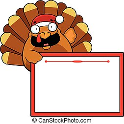 Cartoon Christmas Turkey Sign