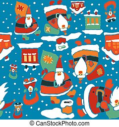 Cartoon Christmas wrapping paper - Cartoon Christmas vector...