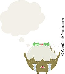 cartoon chrstmas pudding and thought bubble in retro style