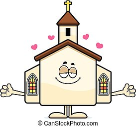Cartoon Church Hug - A cartoon illustration of a church...