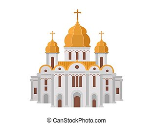 Cartoon church of christian denomination decorated with gold