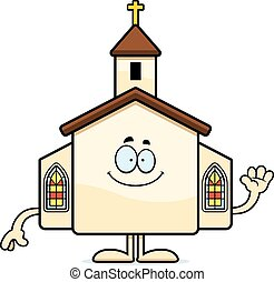 Cartoon Church Waving - A cartoon illustration of a church...