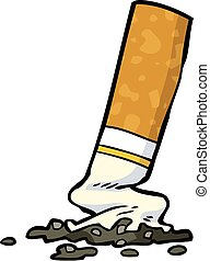 Cartoon cigarette butt on a white background
