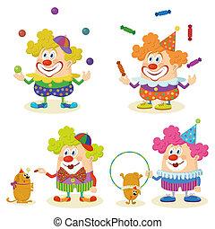 Cartoon circus clowns set - Set of cheerful kind circus...