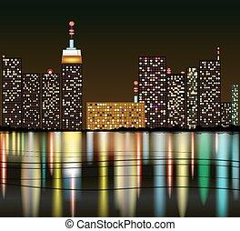Cartoon City at night with reflecti