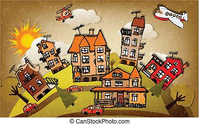 Cartoon city (autumn)