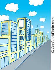 Cartoon city block
