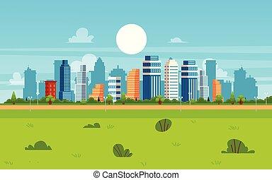 Cartoon city landscape on summer day - modern flat cityscape banner