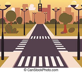 Cartoon city landscape with a crossroad vector illustration background.