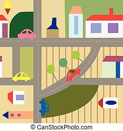 Cartoon city seamless plan - funny design
