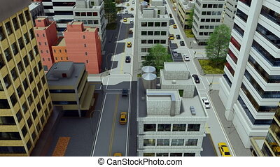 Cartoon city street traffic aerial view 4K