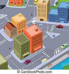 Cartoon City Traffic - Illustration of a cartoon city,...