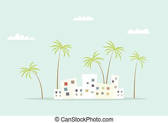 cartoon city with palms and clouds