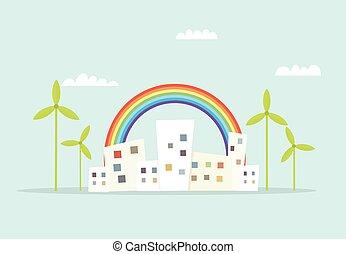 cartoon city with rainbow and windmills