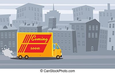 Cartoon cityscape. Old city skyline vector background. Delivery track in city skyline illustration, isolated