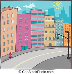 cartoon cityscape with road