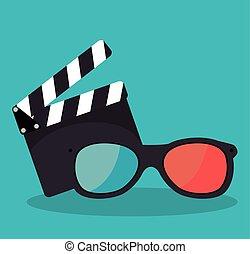 cartoon clapperboard film festival movie design