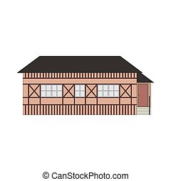 Cartoon classic flat colorful building facade on white background. Architecture icon highly detailed city front view abstract house. Skyscraper construction. Vector illustration eps10