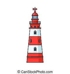Cartoon classic red and white lighthouse - Classic...