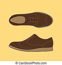 Classical Men Shoes - Cartoon Classical Men Shoes. Drawn man...