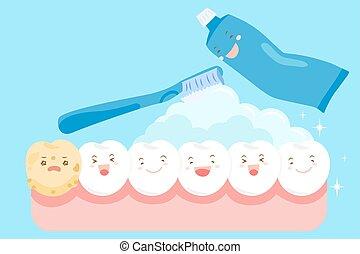 cartoon clean tooth