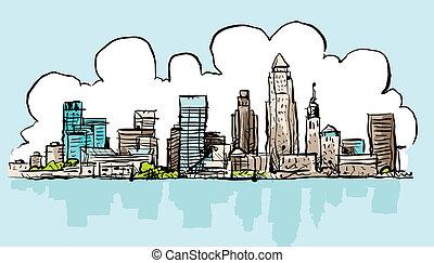 Cartoon skyline of the city of Cleveland, Ohio, USA.