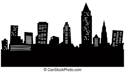 Cartoon skyline silhouette of the city of Cleveland, Ohio, USA.