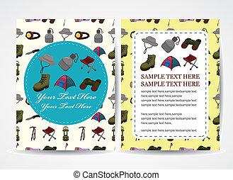 cartoon climb equipment card, cartoon vector illustration