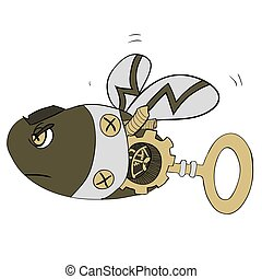 Cartoon clip art illustration of a robot wasp or bee - Steampunk style. golden
