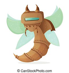 Cartoon clip art illustration of a robot wasp or bee - Steampunk style