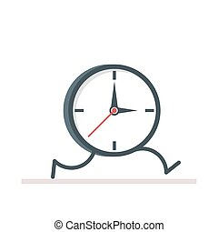 Cartoon clock running. Flat vector, illustration isolated on white background EPS10.
