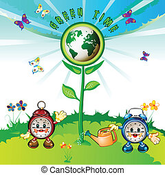Cartoon clocks with Eco Earth