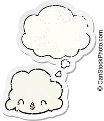 cartoon cloud and thought bubble as a distressed worn sticker