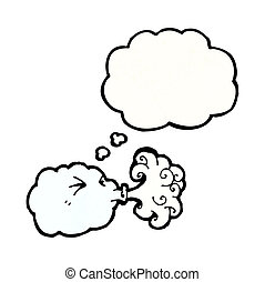 cartoon cloud blowing wind