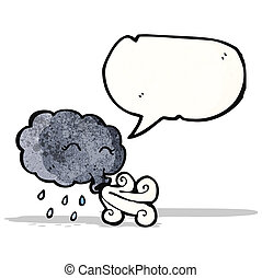 cartoon cloud blowing wind
