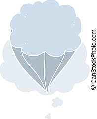 cartoon cloud symbol and thought bubble in retro style