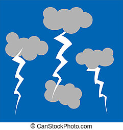 a basic illustration of cartoon style clouds and lightening