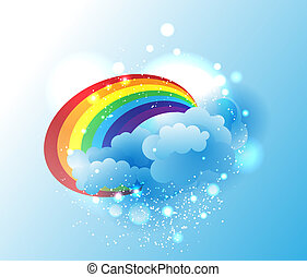 Cartoon clouds and rainbow